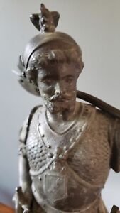 ANSONIA CLOCK FIGURINE STATUE SPELTER KNIGHT WARRIOR WITH SWORD & AXE 15""