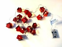 x16 Christmas Red House String Fairy Lights Warm White Battery - 5M Clear Wire