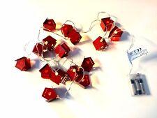 x16 Noël rouge maison fil Lampe Conte de fée blanc chaud Pile - 5m Transparent