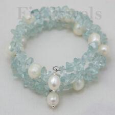 BRACCIALE acquamarina e perle barocche BRACELET aquamarine and natural pearls