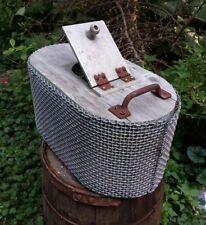 Vintage Mid-Century Rustic Bait Bucket Oval Wood & Metal Cage Holder Distressed
