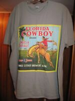 FLORIDA COWBOY Fruit Crate Label XL Gray T-SHIRT Anvil Ring Spun bronco horse