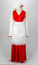 Mrs. Santa Dress 3 Piece Red & White Long Dress Waist Apron & Mob Cap Sm