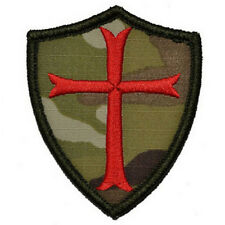 CAMO Knights Templar Cross Shield Military MORALE EMBROIDERED PATCH