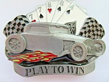 Hot rod belt buckle play to win rock and roll wear.