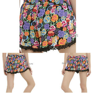 Disney Alice Wonderland Flower Garden Challis Lounge Sleep Pajama Shorts XS NWT