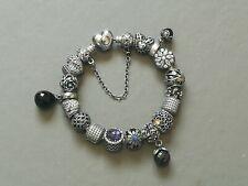 Genuine PANDORA Sterling Silver Charm Bracelet with PANDORA 16 Charms 18cm.