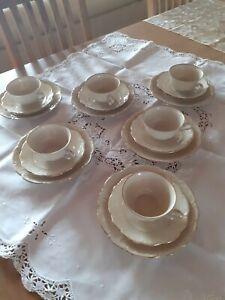 Kaffeeservice 18 teilig, Bareuther Bavaria, Farbe Elfenbein m. Goldrand, gebr.
