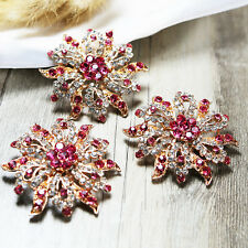 Wholesale 10x PINK Crystal Rhinestone Brooch Pins Bridal Wedding Craft Gold-Tone