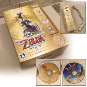 Wii Gold Remote ZELDA Skyward Sword 25th Special Edition Disc, Controller Boxed