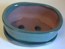 Lovely Classic Bonsai Pot and Attached Matching Saucer, Blue Green Oval, New **