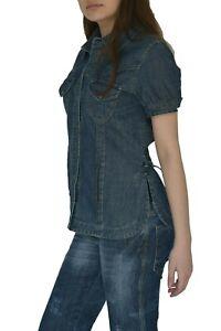 Damen Jeans Bluse Jacke Gr. 36 44 Neu Blau Baumwolle