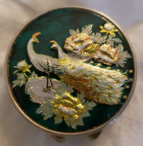 Vintage Spanish Damascene Trinket Snuff Pill Box Silver Tone w/ mirror Enamel