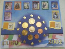 More details for vatican city- 2002 8 coin (from italy) euro set and stamp (from vatican) cover.