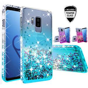 Samsung Galaxy S9 / S9+ Plus Case, Slim Rhinestone Bling Liquid Glitter Cover