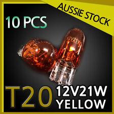 SIGNAL INDICATOR LIGHT GLOBES T20 12V 21W Amber WEDGE BLUBS HALOGEN 10PCS YELLOW
