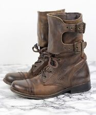 ALL SAINTS Brown Leather DAMISI Military Combat Ankle Boots, Size EU 37 / UK 4