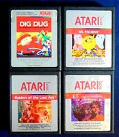 Atari 2600 Game Cartridge Lot Of 4 All Silver Label Dig Dug E.T. Ms. Pac-Man +