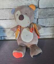 Peluche doudou ours rond ventral écharpe rayé gilet Babysun