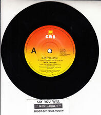 "MICK JAGGER  Say You Will 7"" 45 rpm vinyl record + juke box strip ROLLING STONES"