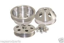 Small Block Chevy 350 Long Water Pump Serpentine Billet Aluminum Pulley Kit Set