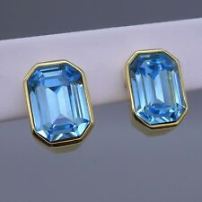 Vintage Joan Rivers Rectangular Faux Blue Topaz Clip Earrings, Signed