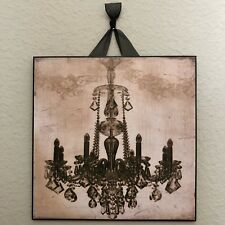 """French Black Chandelier Plaque Wall Decor Cottage Chic 8"""" x 8"""""""