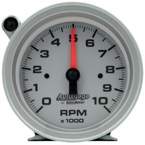 Autometer Silver Dial Tachometer Gauge 10K RPM 95mm Pedestal w/Ext. Shift-Light
