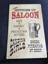 Bottoms Up Saloon Beer Whiskey Metal Sign