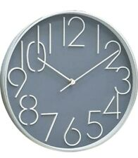 """Time Concept 12"""" Round Wall Clock Aluminum Frame, Analog Time Display, Gray"""