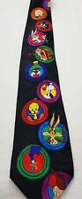 Looney Tunes Mens Neck Tie Black Bugs Bunny Tweety Bird Road Runner Plus More