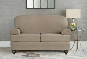 Sure Fit Designer Suede  2 Cushion Loveseat Slipcover in Linen, 4 Available