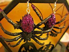 NORA WINN Tarantula Purple Glittery Spider 925 Earrings scary Halloween GIFT