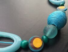BOHO / LAGENLOOK QUIRKY BLUE LONGLINE STATEMENT NECKLACE