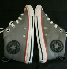 Converse All Star Street Mid Gray &  Black Leather Kids Boy US Size 2 EURO 33.5