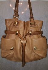 B Makowsky QVC Tan Chestnut Soft Glove Leather Shoulder Handbag Satchel Purse