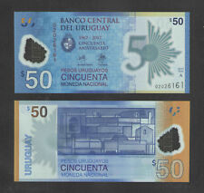 2017 URUGUAY 50 PESO POLYMER BANKNOTE CATALOG # NEW CRISP UNCIRCULATED CURRENCY