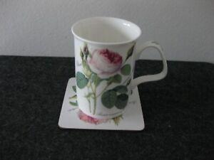 Roy Kirkham Redoute Roses Kaffeebecher mit Untersetzer