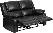 Loveseat Theater Recliners in Black Leathersoft with Two Built-In Recliners