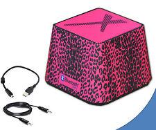 Portable Mini Wireless Bluetooth Speaker in Stylish Hot Pink Leopard for MacBook