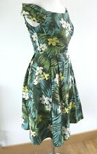 Emily and Fin Claudia Cotton Leaf Floral Vintage Style Dress S UK 6