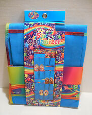"Lisa Frank 16 Pocket Shoe Organizer Neon Blue 18"" x 46"" Holds 8 Pair ~ NEW"