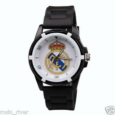 Men's Wristwatch Real Madrid Watch Sports Boy's Black Band Football Fan Souvenir