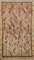 Antique Muted Geometric Tebriz Distressed Hand-knotted Wool Area Rug 3x6 Carpet