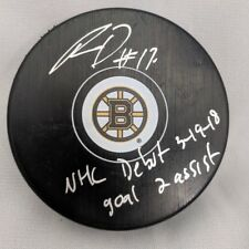 Ryan Donato Boston Bruins Signed inscribed debut & goal assists puck