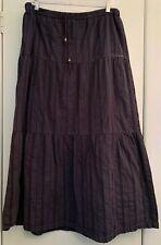 New listing Billabong 3 Tierd Navy Blue Arrow Patterned Maxi Skirt Sz M Elastic Drawstring