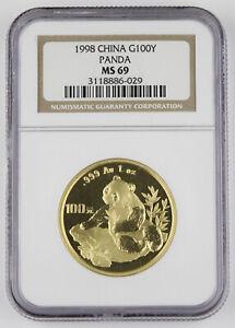 China 1998 100 Yuan 1 Oz 999 Gold Chinese Panda Coin NGC MS69 GEM Better Date