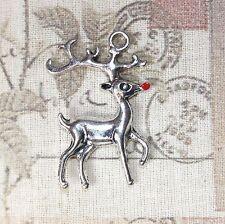 4x Mignon Ton Argent Rudolph Renne de Noël Charms avec nez rouge 36 mm x 22 mm