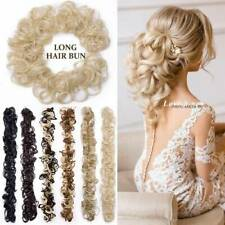 LONG Curly Messy Bun Hair Piece Scrunchie Updo Wrap On Hair Extensions as Human