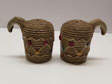 VTG Decorative Woven Basket design Salt and Pepper Shakers Made In Japan S&P